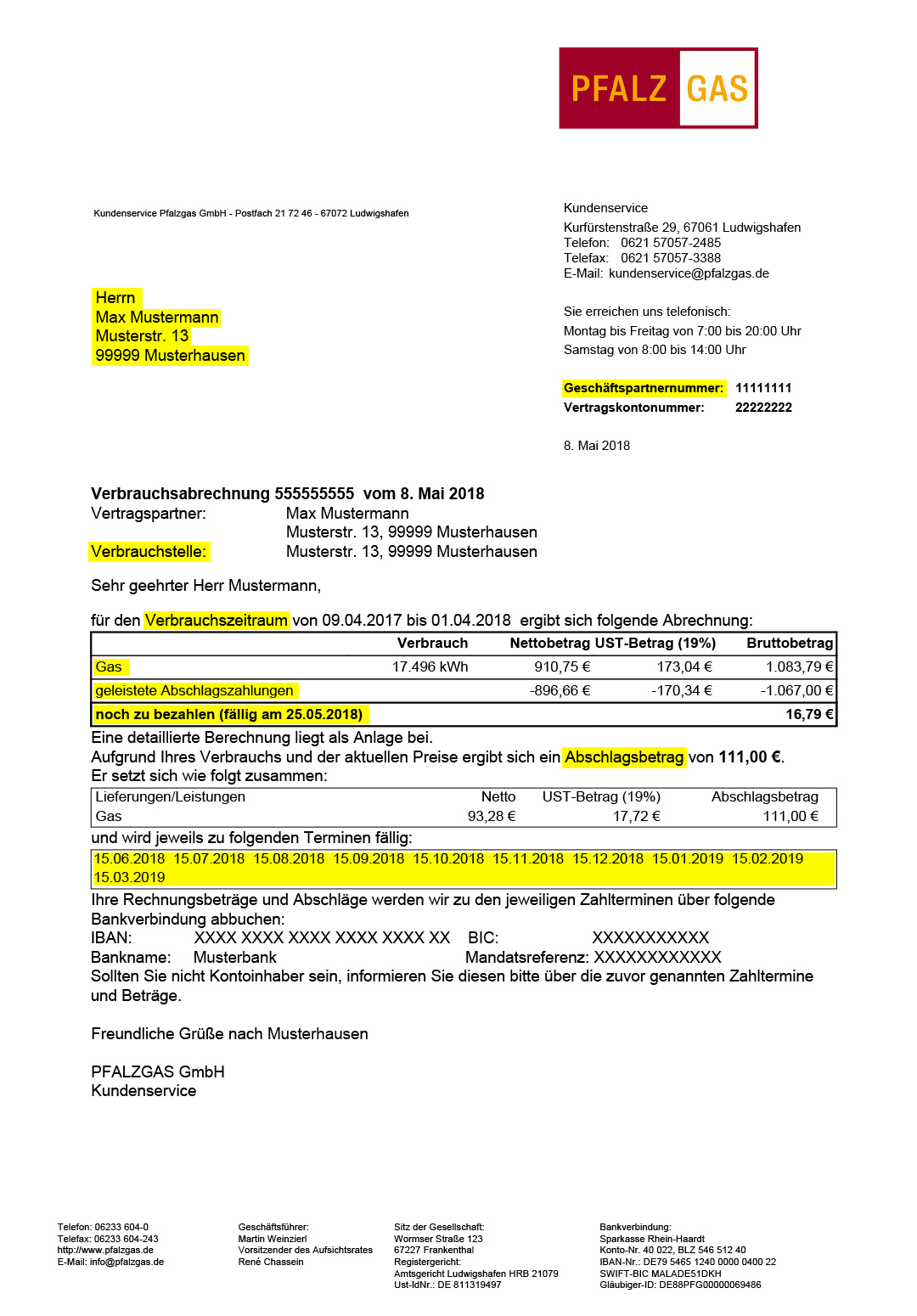 Rund um Ihre Abrechnung – PFALZGAS GmbH